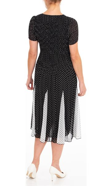 Anna Rose Chiffon Pleated Spot Midi Dress