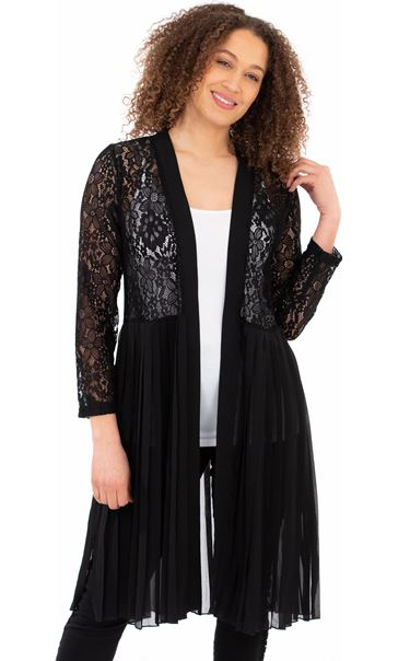 Pleat And Lace Longline Cover Up Black