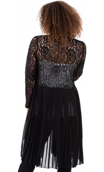Pleat And Lace Longline Cover Up - Black