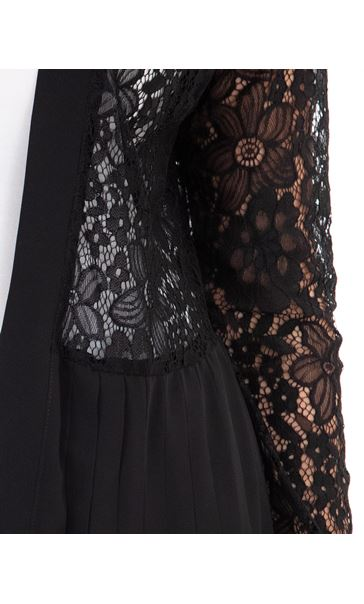 Pleat And Lace Longline Cover Up Black - Gallery Image 3