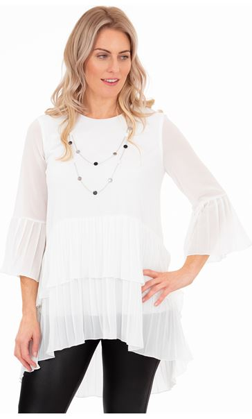 Pleated Layer Chiffon Tunic Top With Necklace Ivory