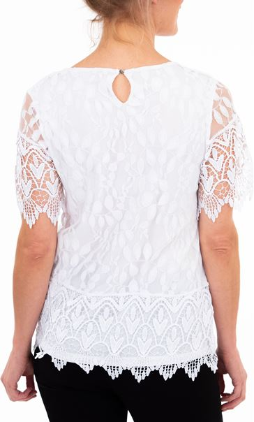 Anna Rose Lace And Crochet Top Ivory - Gallery Image 2