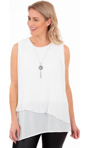 Pleated Chiffon Layered Top Ivory - Gallery Image 1