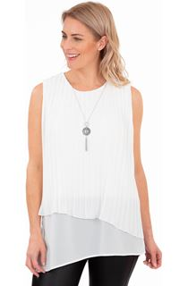 Pleated Chiffon Layered Top