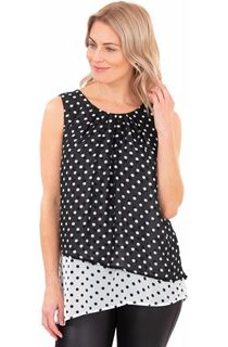 Layered Spotted Asymmetric Chiffon Top