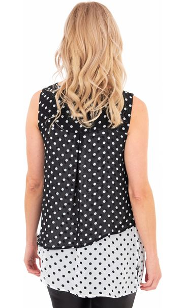 Layered Spotted Asymmetric Chiffon Top Black/White - Gallery Image 2
