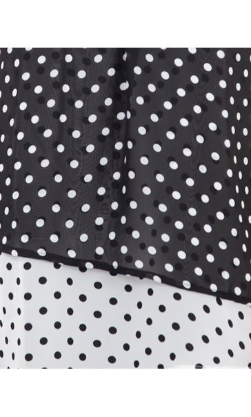 Layered Spotted Asymmetric Chiffon Top Black/White - Gallery Image 3