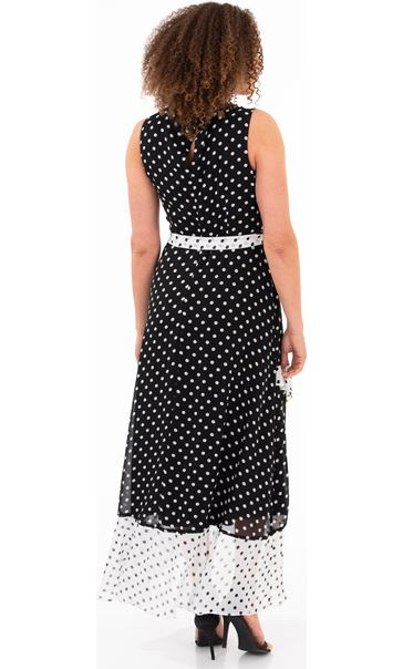 Spotted Chiffon Sleeveless Dress Black/White - Gallery Image 2