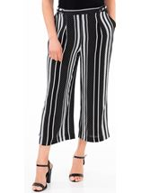Stripe And Spot Wide Leg Cropped Trousers