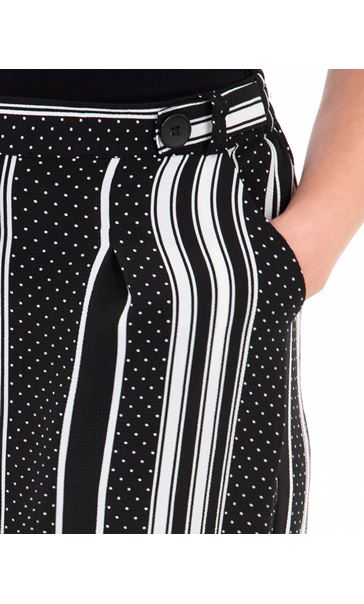 Stripe And Spot Wide Leg Cropped Trousers Black/White - Gallery Image 3