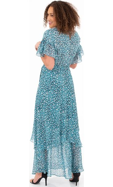 Printed Chiffon Maxi Dress Aqua/Black/Ivory - Gallery Image 2
