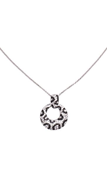 Animal Print Sparkle Necklace Silver/Black - Gallery Image 2