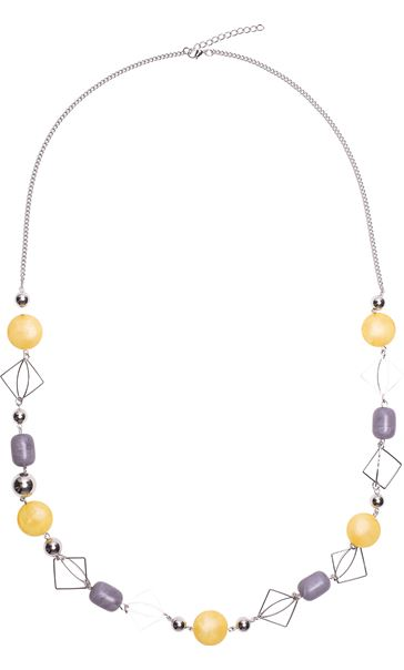 Multi Bead Long Necklace Silver/Yellow Multi
