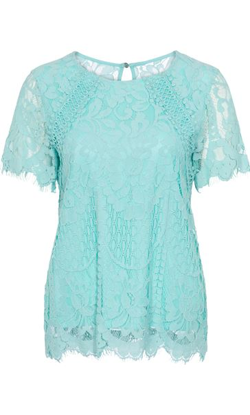 Anna Rose Crochet And Lace Top Aqua - Gallery Image 1