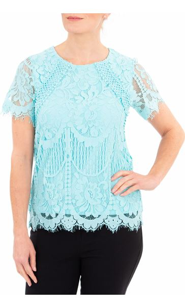 Anna Rose Crochet And Lace Top Aqua - Gallery Image 2