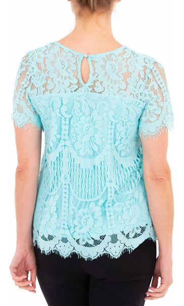 Anna Rose Crochet And Lace Top Aqua - Gallery Image 3