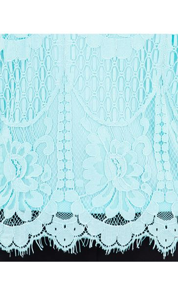 Anna Rose Crochet And Lace Top Aqua - Gallery Image 4