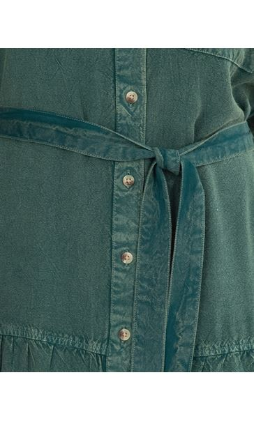 Washed Button Through Dress Green - Gallery Image 3