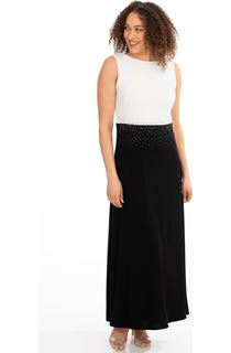 Colour Block Diamante Maxi Dress