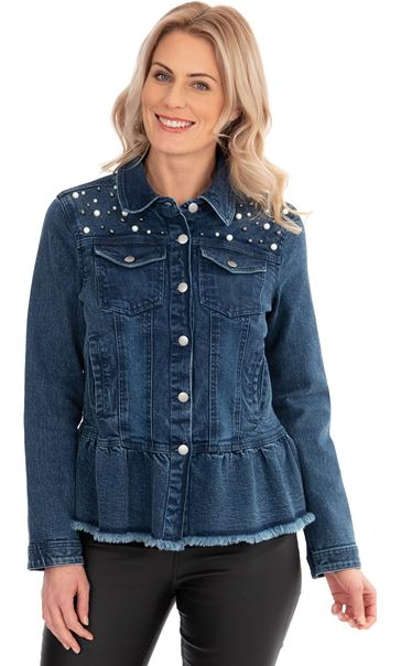 Embellished Denim Jacket Lt Denim/Blue - Gallery Image 1