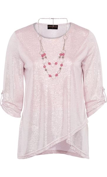 Anna Rose Shimmer Top With Necklace Pink/Silver - Gallery Image 3
