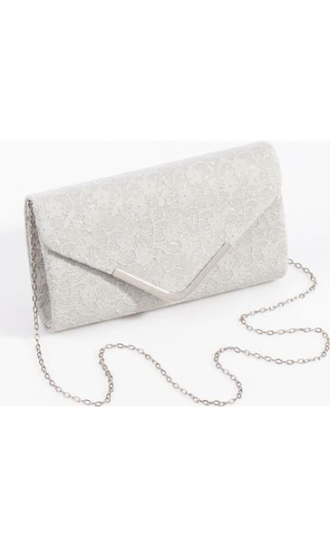 Glitter Envelope Clutch Bag Silver
