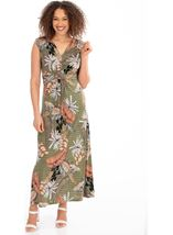 Leaf Printed Jersey Maxi dress