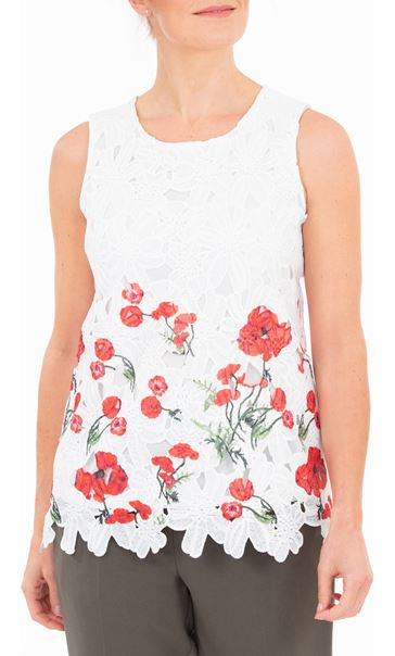 Anna Rose Poppy Printed Crochet Top