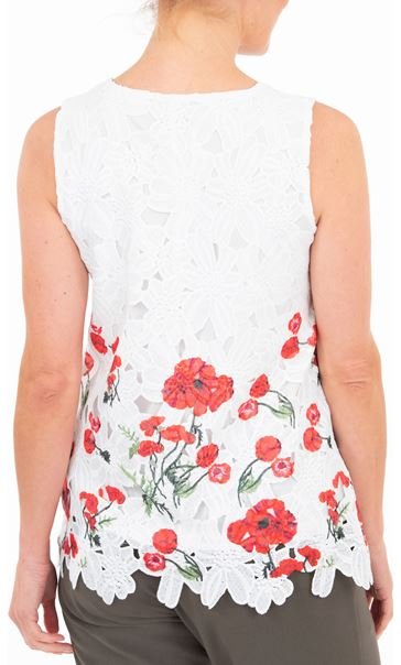 Anna Rose Poppy Printed Crochet Top White/Red - Gallery Image 3