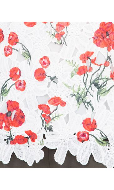 Anna Rose Poppy Printed Crochet Top White/Red - Gallery Image 4