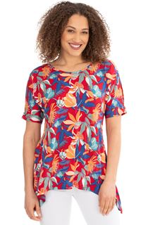 Printed Split Sleeve Dip Hem Tunic