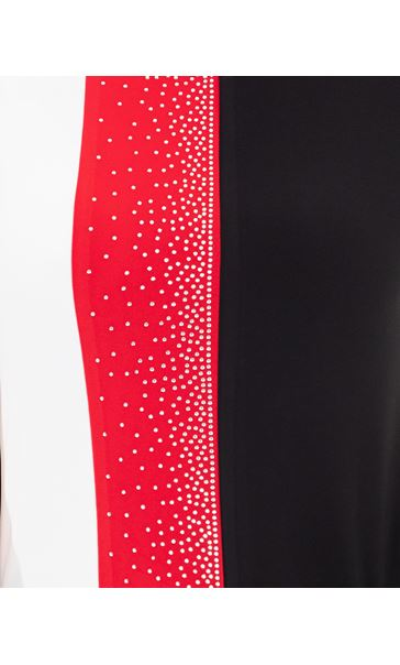 Anna Rose Embellished Colour Block Top Black/White/Red - Gallery Image 4