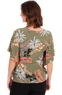 Leaf Printed Jersey Top