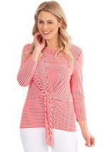 Striped Tie Front Jersey Top