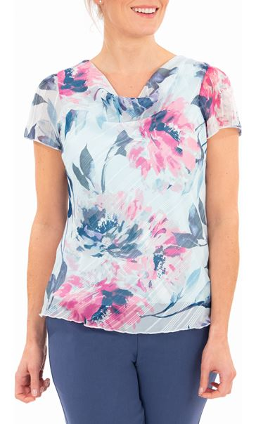 Anna Rose Bias Cut Print Top Blue Light