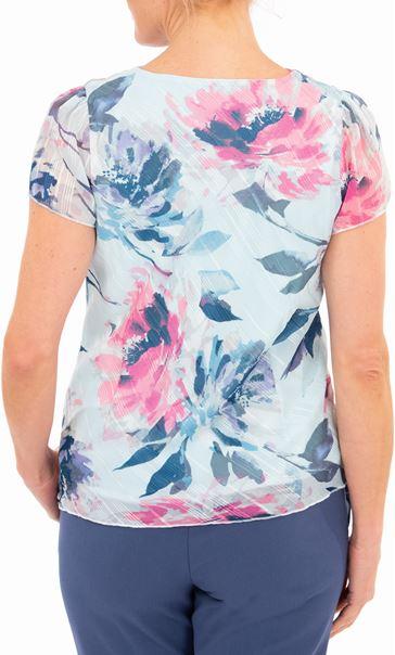 Anna Rose Bias Cut Print Top Blue Light - Gallery Image 2