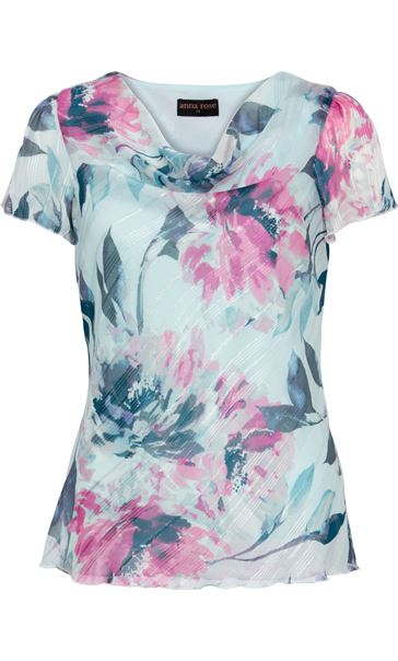 Anna Rose Bias Cut Print Top Blue Light - Gallery Image 3