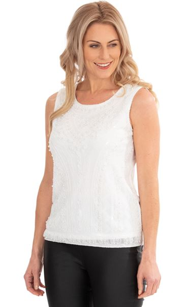 Sleeveless Beaded And Sequin Top Ivory
