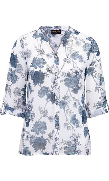 Anna Rose Printed Chiffon Blouse With Necklace White/Multi Blue - Gallery Image 3
