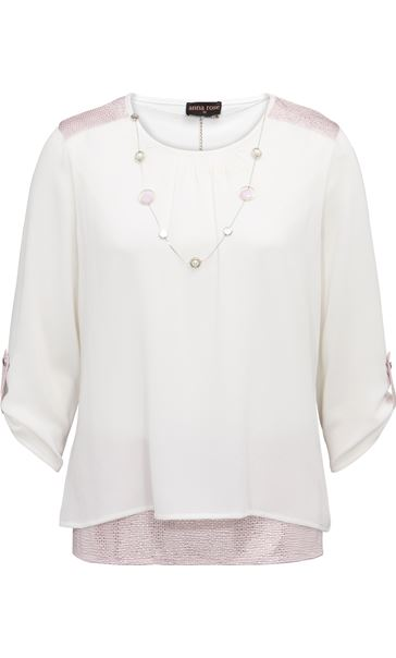 Anna Rose Layered Top With Necklace Ivory - Gallery Image 3