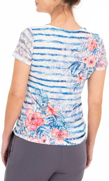 Anna Rose Lace Sleeve Printed Top Blue/Multi - Gallery Image 2