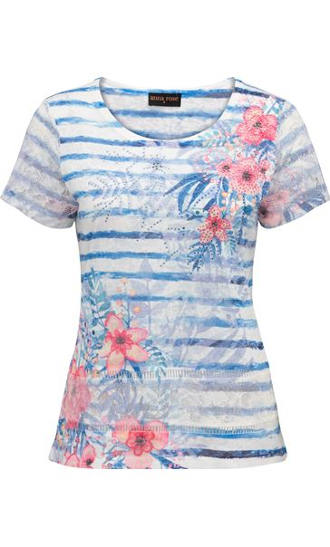 Anna Rose Lace Sleeve Printed Top Blue/Multi - Gallery Image 3
