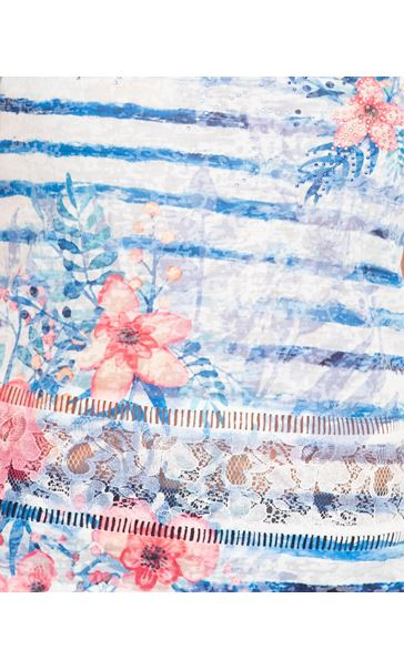 Anna Rose Lace Sleeve Printed Top Blue/Multi - Gallery Image 4