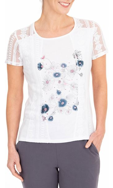 Anna Rose Lace Panel Print Top White/Blue/Pink