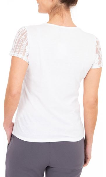 Anna Rose Lace Panel Print Top White/Blue/Pink - Gallery Image 2