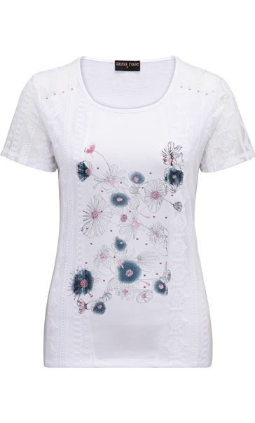 Anna Rose Lace Panel Print Top White/Blue/Pink - Gallery Image 3