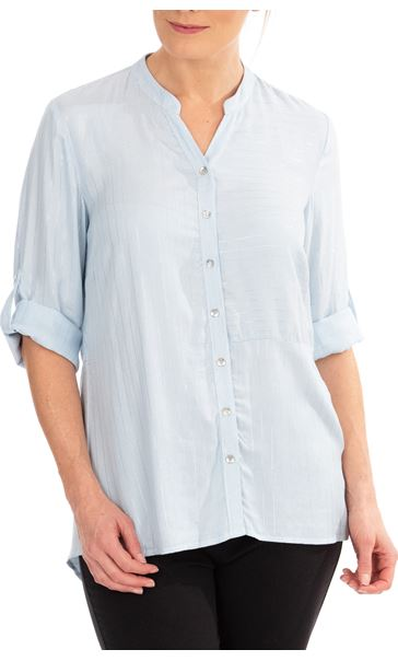Anna Rose Striped Shirt Blue Silver Metallic - Gallery Image 1