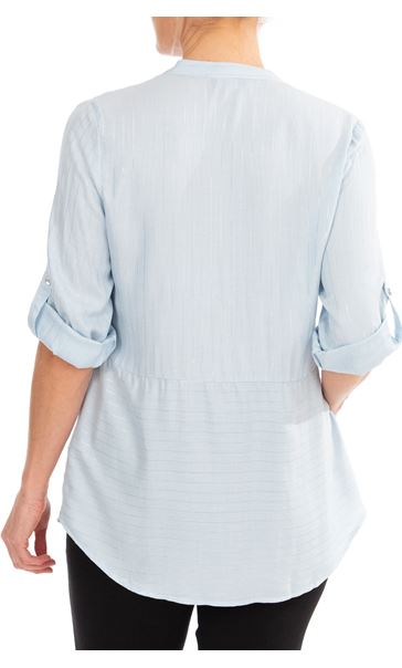 Anna Rose Striped Shirt Blue Silver Metallic - Gallery Image 2