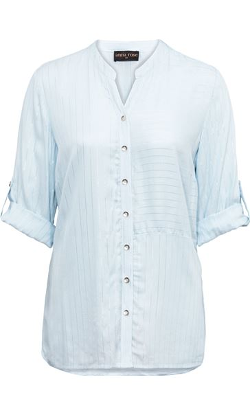 Anna Rose Striped Shirt Blue Silver Metallic - Gallery Image 3
