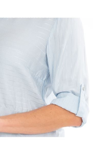 Anna Rose Striped Shirt Blue Silver Metallic - Gallery Image 4